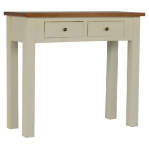 Details About Modern Solid Wood Hand Made Console Side Table For Hallways |  White W/ 2 Drawers