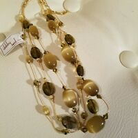 Dabby Reid Handcrafted In Usa Cat's Eye Triple Necklace W/crystals