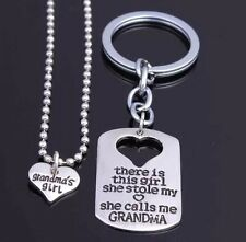 2PCs Keyring Keychain Pendant Necklace Set Grandma Girl Daughter Gifts