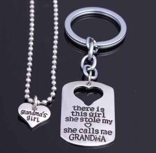 2PCs Llavero Llavero Colgante Collar Set abuela niña hija Regalos