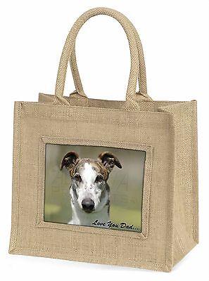 Windhund-hund 'Liebe dich Papa' Große Natürliche Jute-einkaufstasche Weihnachten