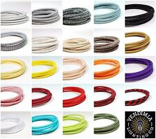 Italian Coloured braided lighting 3 core fabric cable flex cord | Vintage Retro