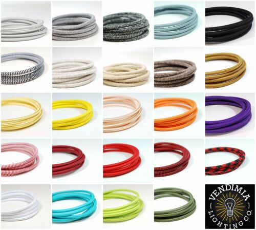 Italian Coloured braided lighting 3 core fabric cable flex cordVintage Retro
