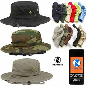 1ed9ab6637c Image is loading Genuine-Newhattan-Safari-Bucket-Hat-100-Cotton-Fisherman-