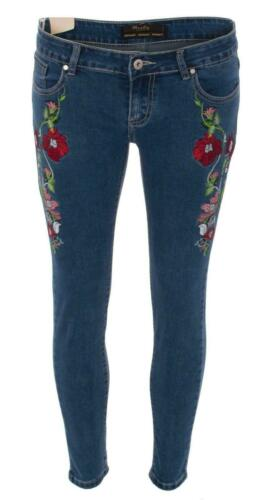 Donna Floreale Ricamato Fiore Rosa in Jeans Denim Skinny Stretch Slim Fit Trend