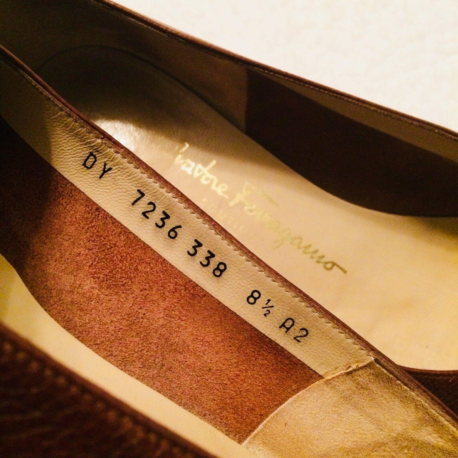 Salvatore Ferragamo 7236 338 R 8.5 8.5 8.5 A2 Slip on leather schuhe.. Very nice d0e422