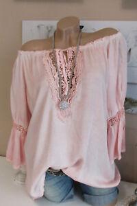 Bluse TUNIKA Vintage HÄKEL Spitze OVERSIZE Rosa Batik HIPPIE Shirt 38 40 42