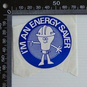 VINTAGE-I-039-M-AN-ENERGY-SAVER-CONSERVATION-AUSTRALIA-ADVERTISING-PROMO-STICKER