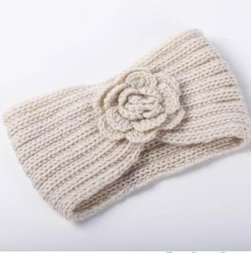 New Flower Knit Headband Winter Women Ear Warm Crochet Headwrap Lady Hair Band
