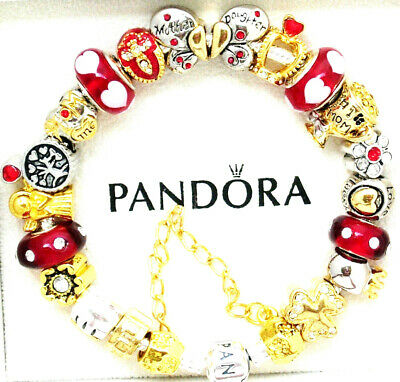 Authentic Pandora Bracelet Silver Red Gold Mom Daughter European Charms Gift New Ebay