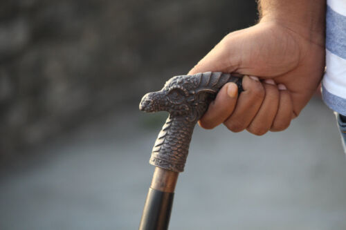 Vintage Aluminium Head Dragon Handle Walking Stick Wooden Designer Brown Cane