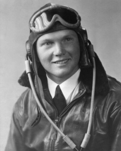 1943 US Pilot JOHN GLENN Glossy 8x10 Photo Print Poster World War II Portrait