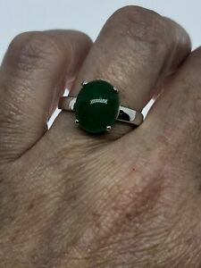 Vintage-Green-Jade-Bague-Or-Blanc-Finition-Taille-8