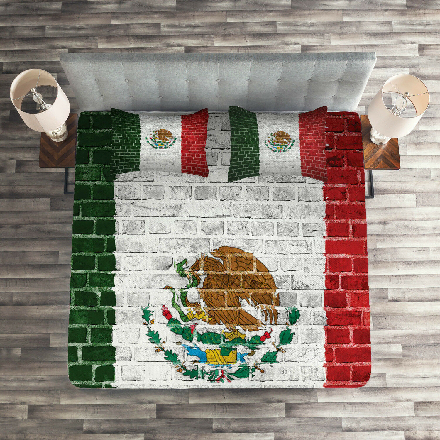 Mexica Quilted Coverlet & Pillow Shams Set, Latina Country Flag Print