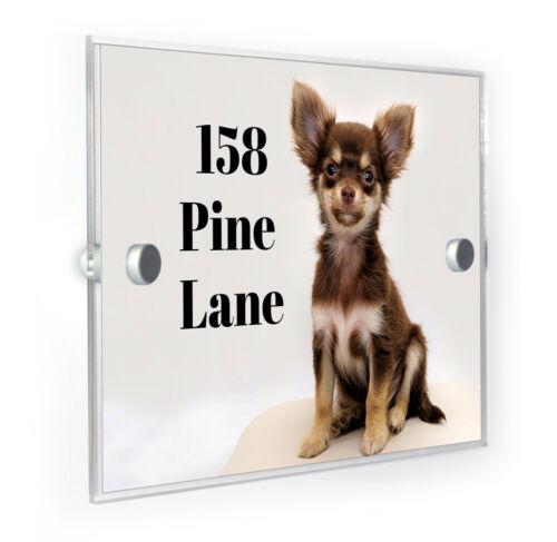 Chihuahua chiot Style Moderne Personnalisé Maison Numéro Plaque