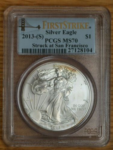 S Spots $1 Silver American Eagle PCGS MS70 2013- First Strike