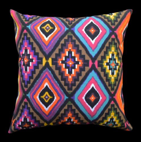 AL251a Brown Yellow Turquoise Blue Orange Geometric Cotton Canvas Cushion Cover