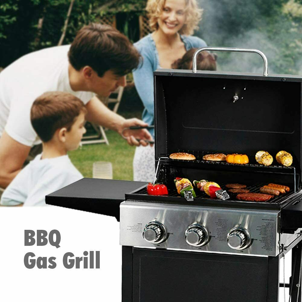 MASTER COOK Black  Classic Liquid Propane Gas Grill 3 Bunner with Folding Table