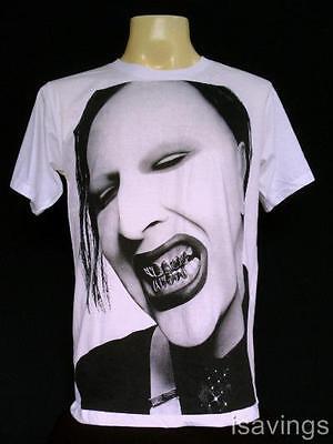 MARILYN MANSON T-shirt, Goth METAL Rock, WHITE Unisex S M & L, Gothic CULT Evil