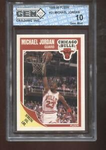 Michael Jordan 1989-90 Fleer #21 Chicago Bulls HOF GEM MINT 10