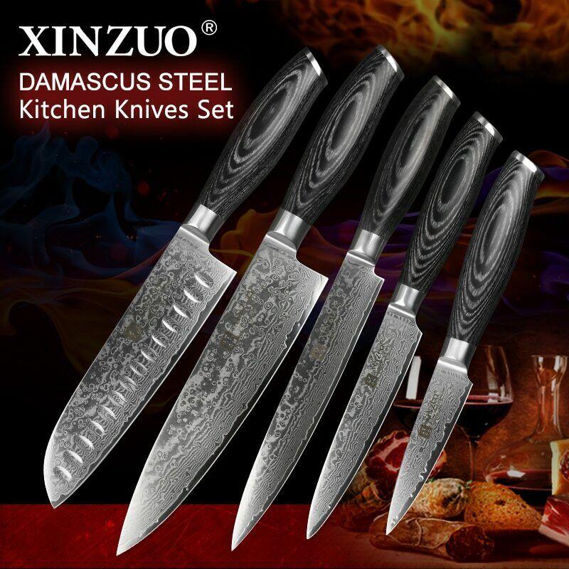 Xinzuo 5 Pièces Couteau De Cuisine Set de 67 couches damas japonais en acier inoxydable