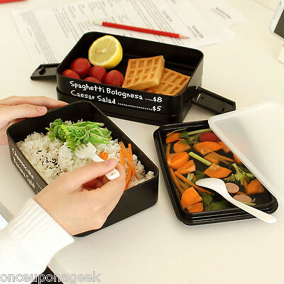Watertight Seal Microwave Bento Box With Handle 3Layers Today's Menu Lunch Box