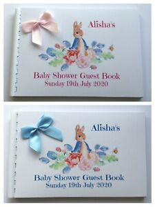 PERSONALISED-PETER-RABBIT-BABY-SHOWER-GUEST-BOOK-SCRAPBOOK-MEMORY-ALBUM