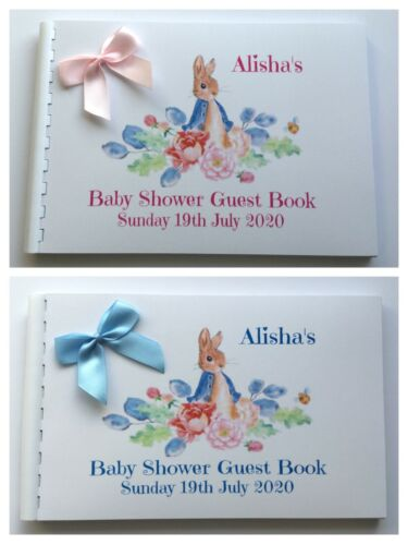 SCRAPBOOK MEMORY ALBUM PERSONALISED PETER RABBIT  BABY SHOWER GUEST BOOK
