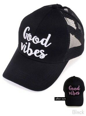 076a7b48d06 NEW GOOD VIBES BLACK MESSY BUN BASEBALL MESH TRUCKER HAT COLOR ...