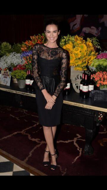 Zara Black Lace Dress With Leather Peplum Frill Dress Extra Small Xs