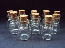 10 Mini Glass Bottles/Jars/Vials With Cork Stopper Size 22mm x 15mm.  (B)