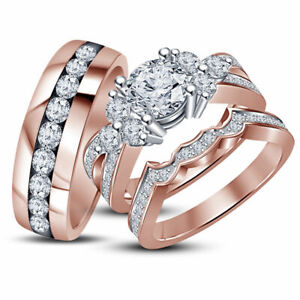 14k Rose Gold Finish His And Her Diamond Engagement Bridal Wedding