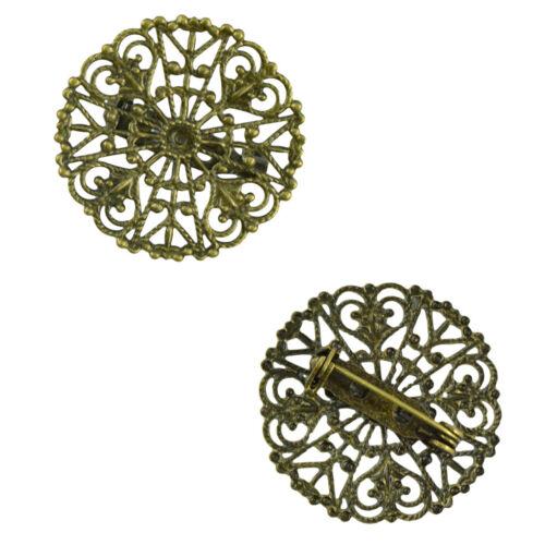 10x Filigrane Blume Blank Brosche Einstellungen Revers Pin Sicherheitsnadeln