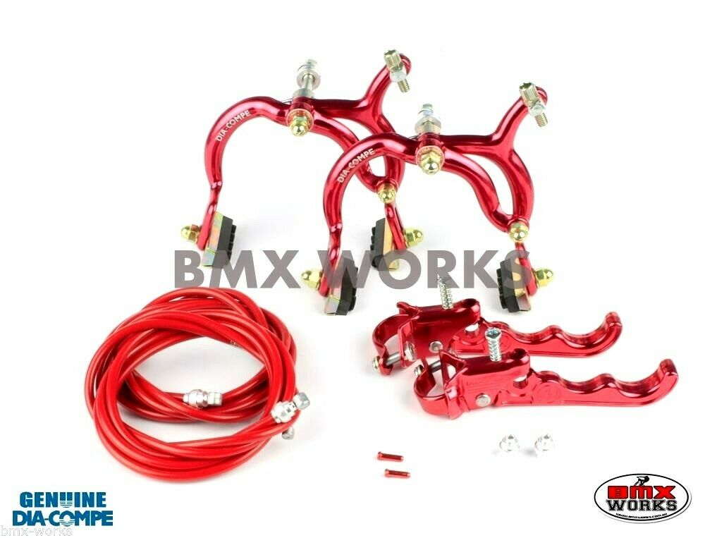 Dia-Compe MX890 - MX120 Red Brake Set -  Old Vintage School BMX Style Brakes  sell like hot cakes