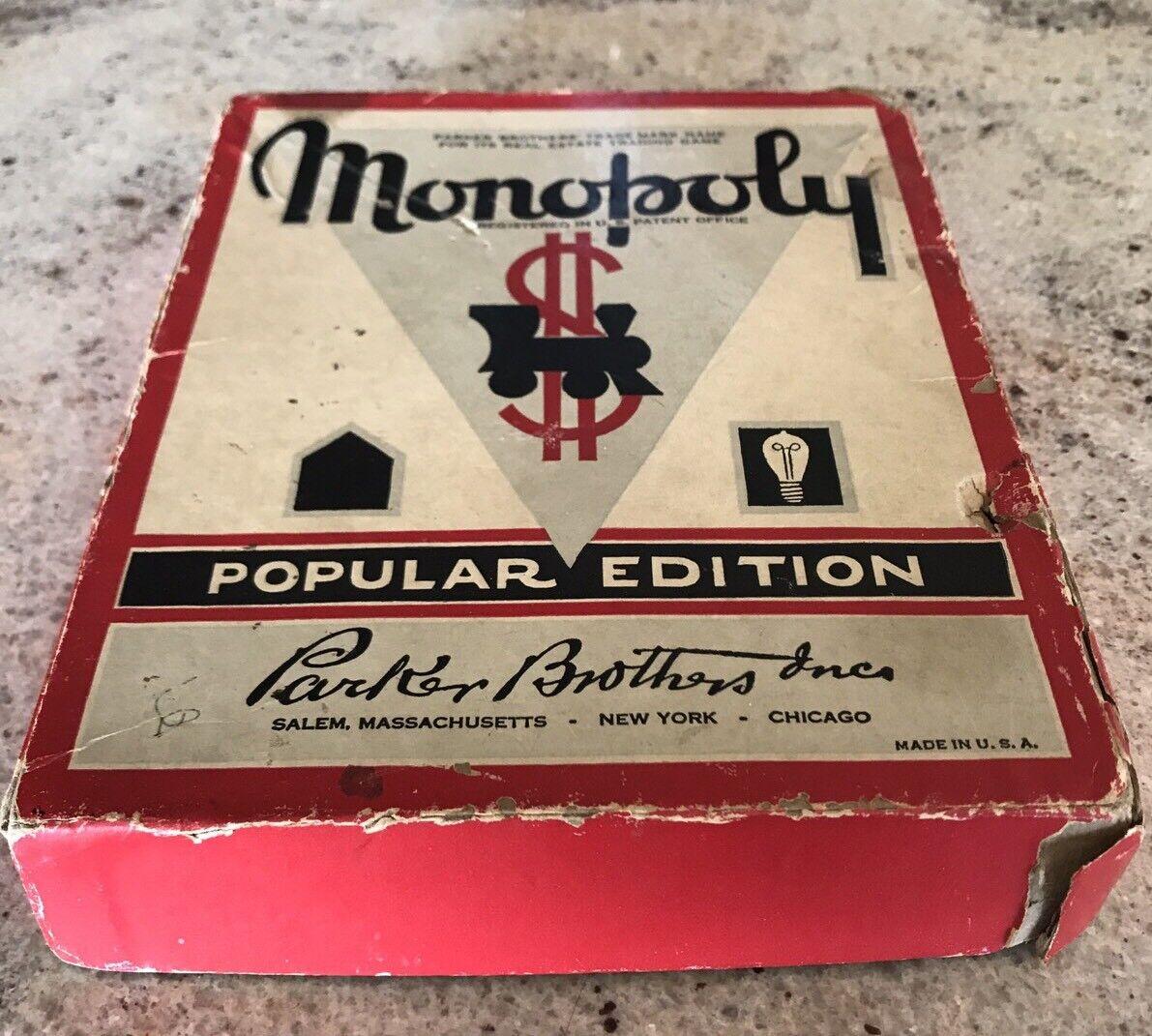 Vintage c. 1951 Parker Bredhers MONOPOLY Game Popular Edition