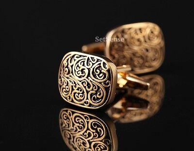 XRE01D Gold Retro Rectangle Golden Luxury Vintage Wedding Mens Cufflinks