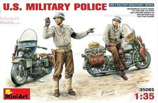 1/35 WWII US Military Police ~ 2 figures & motorbikes set by Mini Art ~ 35085