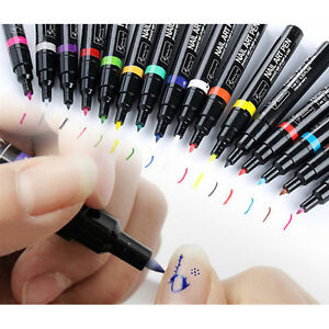 16 Colors Nail Art Pen Polish Painting Drawing Uv Gel Diy Design