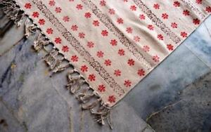 Vintage-Turkish-Handmade-Block-Print-Cotton-Kilim-Kelim-Rug-Runner-3x5-Feet