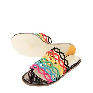 RRP€310 GIANNICO Leather Slide Sandals EU39 UK6 US9 Multicolour Cut Out Lip Cage