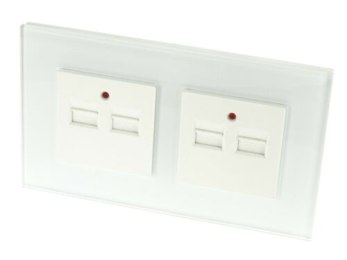 I Lumos Luxe Verre Blanc Simple 2.1 A et 4.2 A Double Chargeur USB Wall Sockets