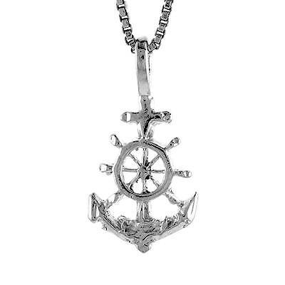 """18/"""" Italian Box Chain Sterling Silver Filigree Cross Pendant"""
