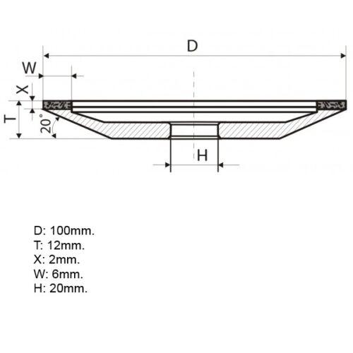 "Type 12A2-20 Dish Diamond Grinding Wheel 150 Grit Hole 0.79/"" 4 inch 100mm"