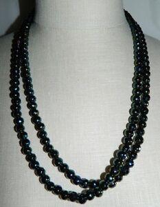 VTG-Art-Deco-Flapper-Style-Black-Aurora-Borealis-Glass-Faceted-Beaded-Necklace