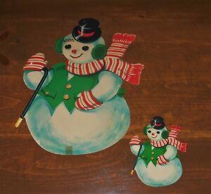 2-VTG-Dennison-Christmas-SNOWMAN-w-Cane-Die-Cut-Out-Cardboard-Decoration