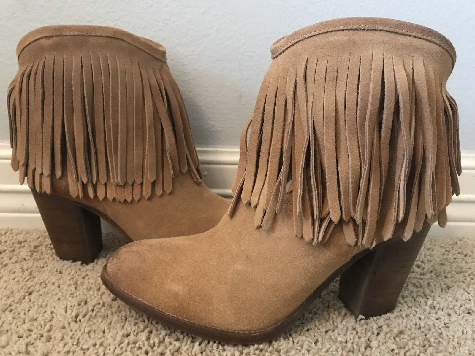 New FRYE Women's Ilana Fringe Short Sand  Leather Suede Suede Suede Boots Sz 8.5  358 c59038