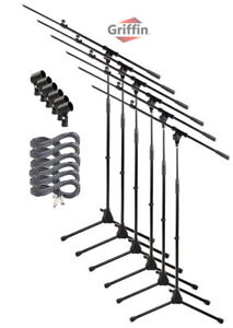 Microphone-Boom-Stand-6-PACK-Griffin-Telescoping-Mic-Stage-XLR-Cable-Studio