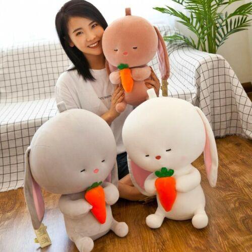 Big Head Rabbit Cute Plush Toy Eat Carrot Rabbit Soft Stuffed Animals Doll Gift