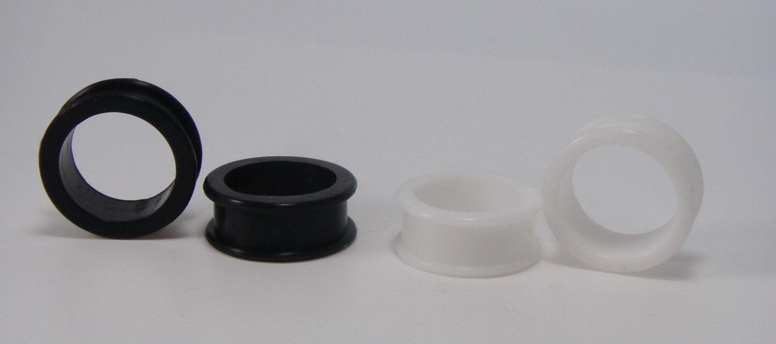 4 to 38mm Tunnel Inkgrafix Silicone Plug Extra Wide Trim Black White