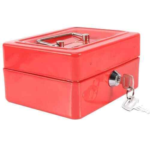 Caja fuerte metalica portatil caudales mediana Rojo